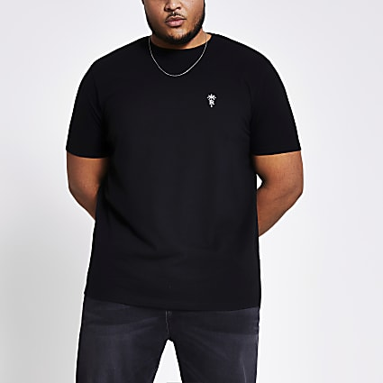 Black embroidered slim fit T-shirt