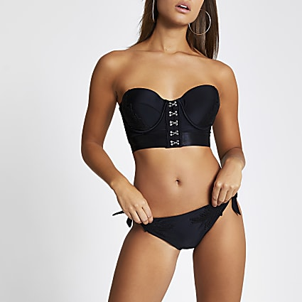 Black embroidered tie side bikini bottoms