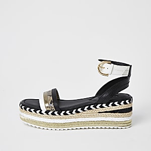 Black espadrille flatform sandals