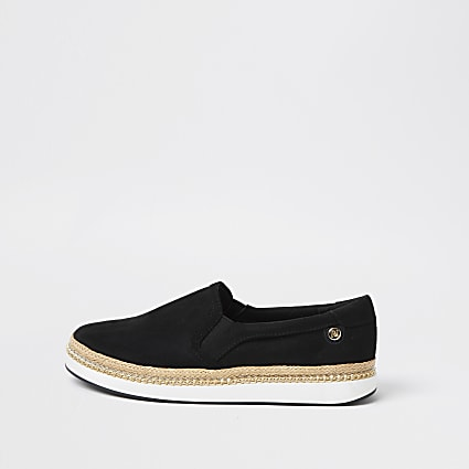 Black espadrille slip on sandals