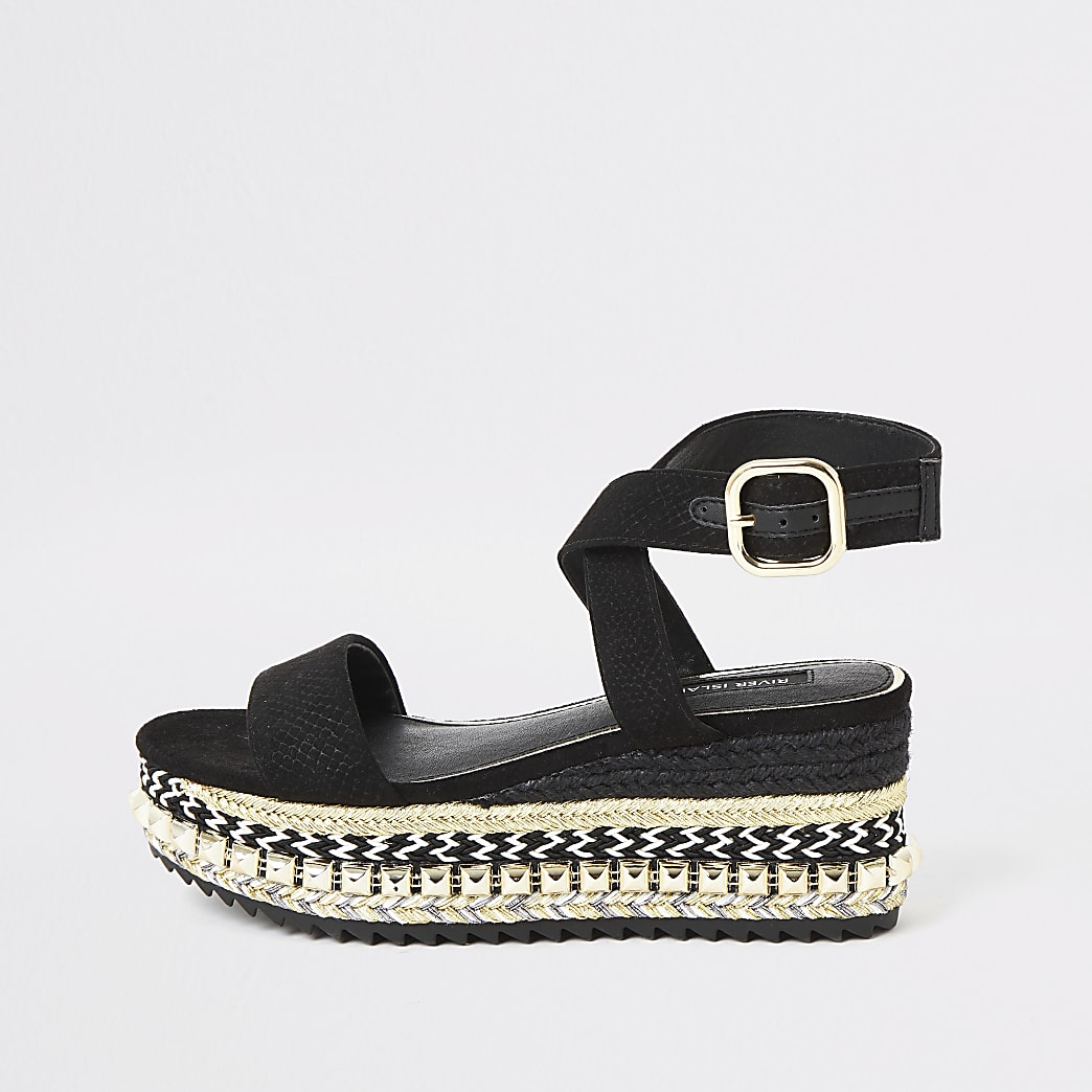 Black espadrille wedge flatform sandals