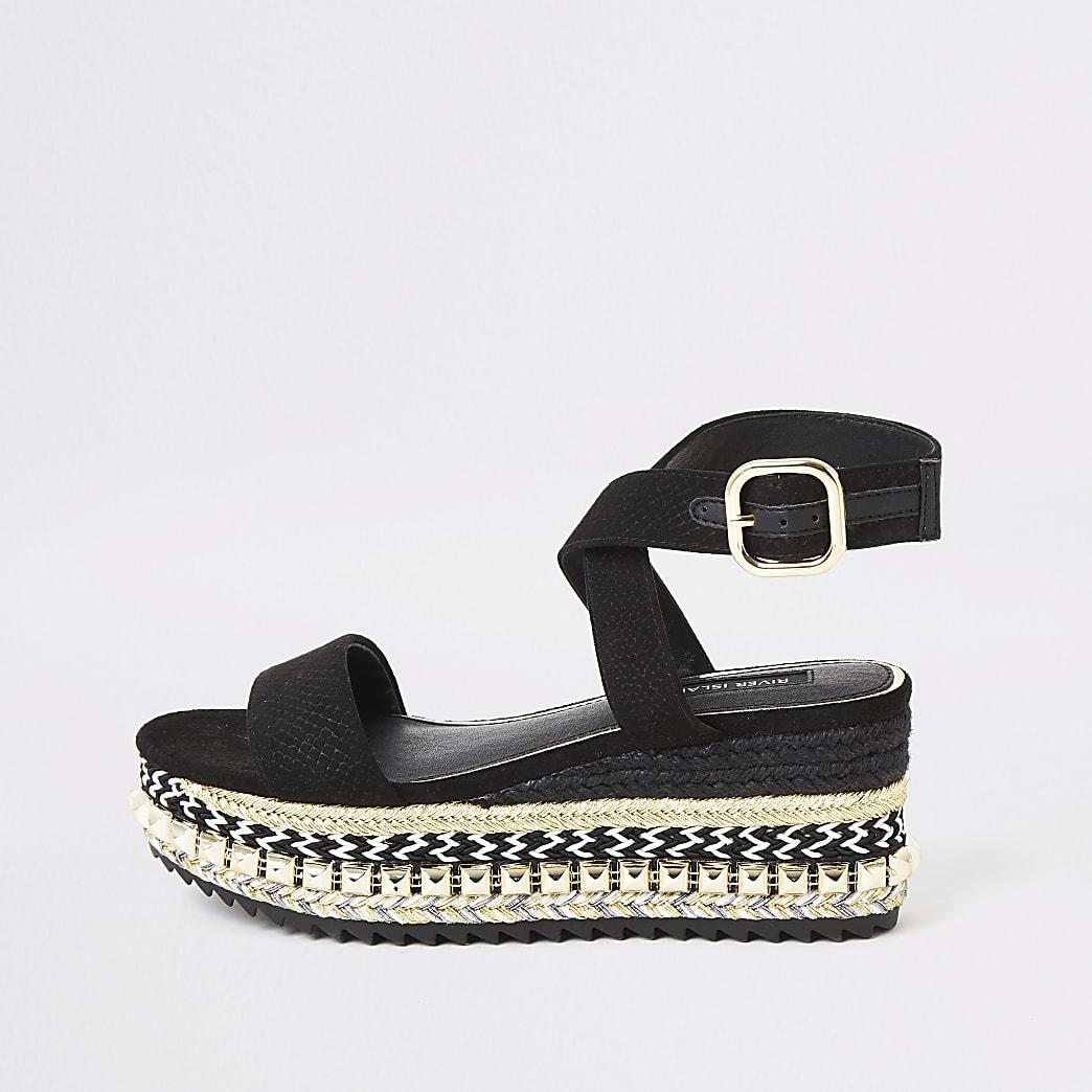 Black espadrille wedge flatform sandals