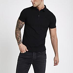 Schwarzes Muscle Fit Poloshirt