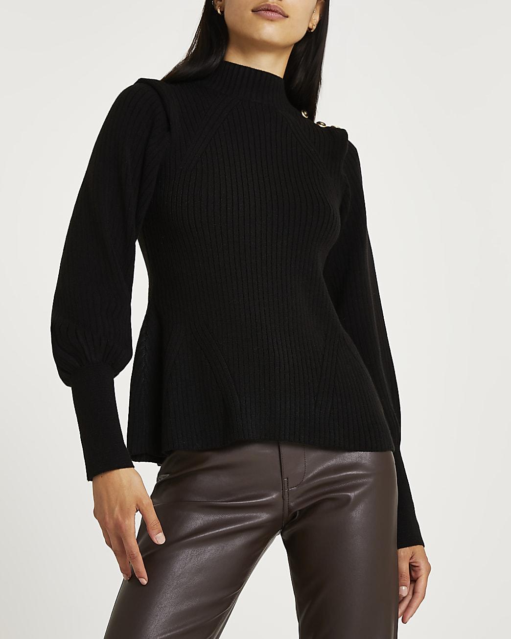 Black extended shoulder knit jumper