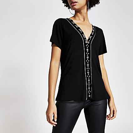 Black eyelet embellished velvet T-shirt