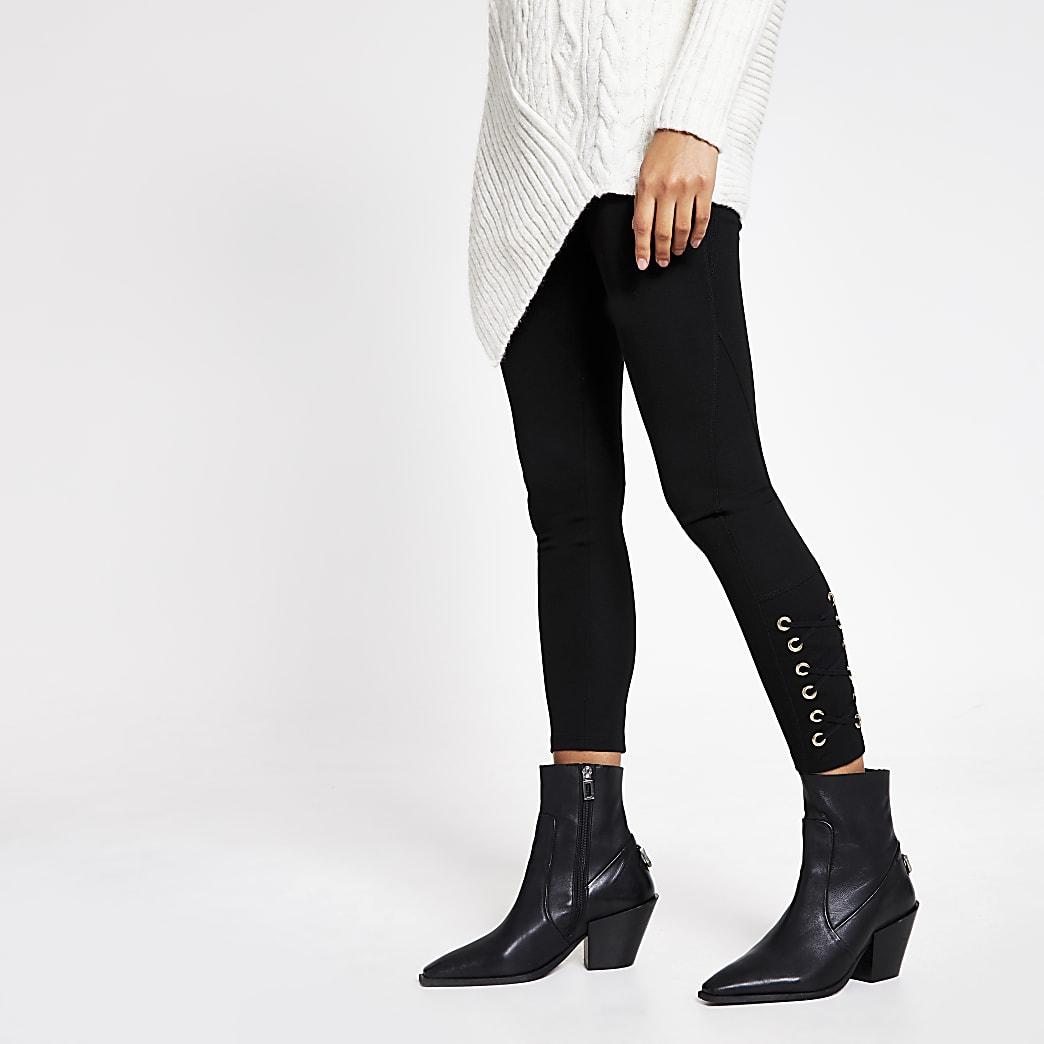 Black eyelet lace-up side leggings