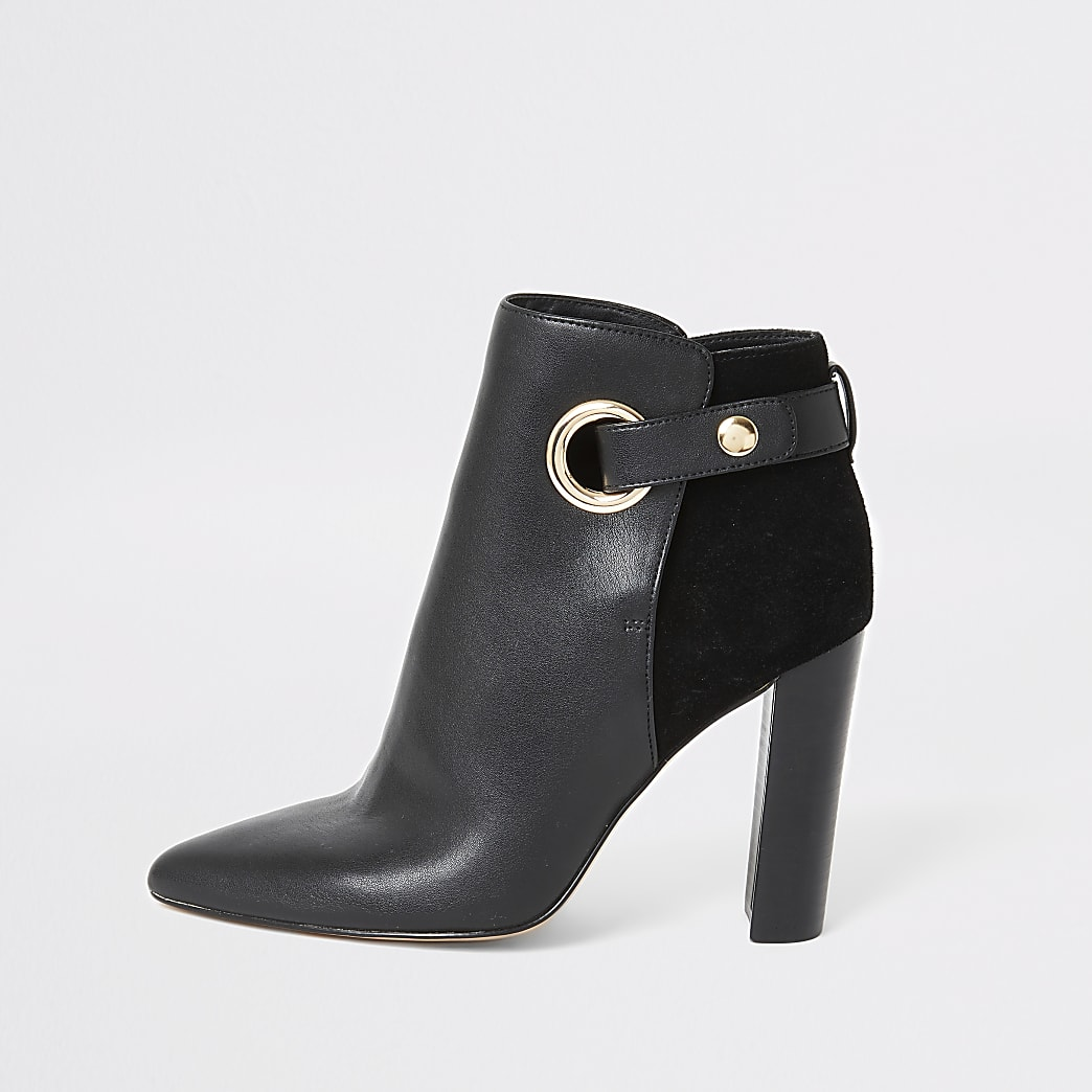 Black eyelet strap wide fit heeled boots