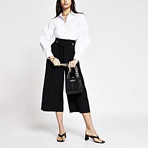 Black eyelet tie crop wide leg trouser