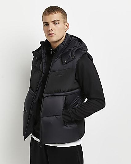 Black fabric block hooded gilet