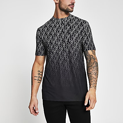 Black fade river print short sleeve t-shirt