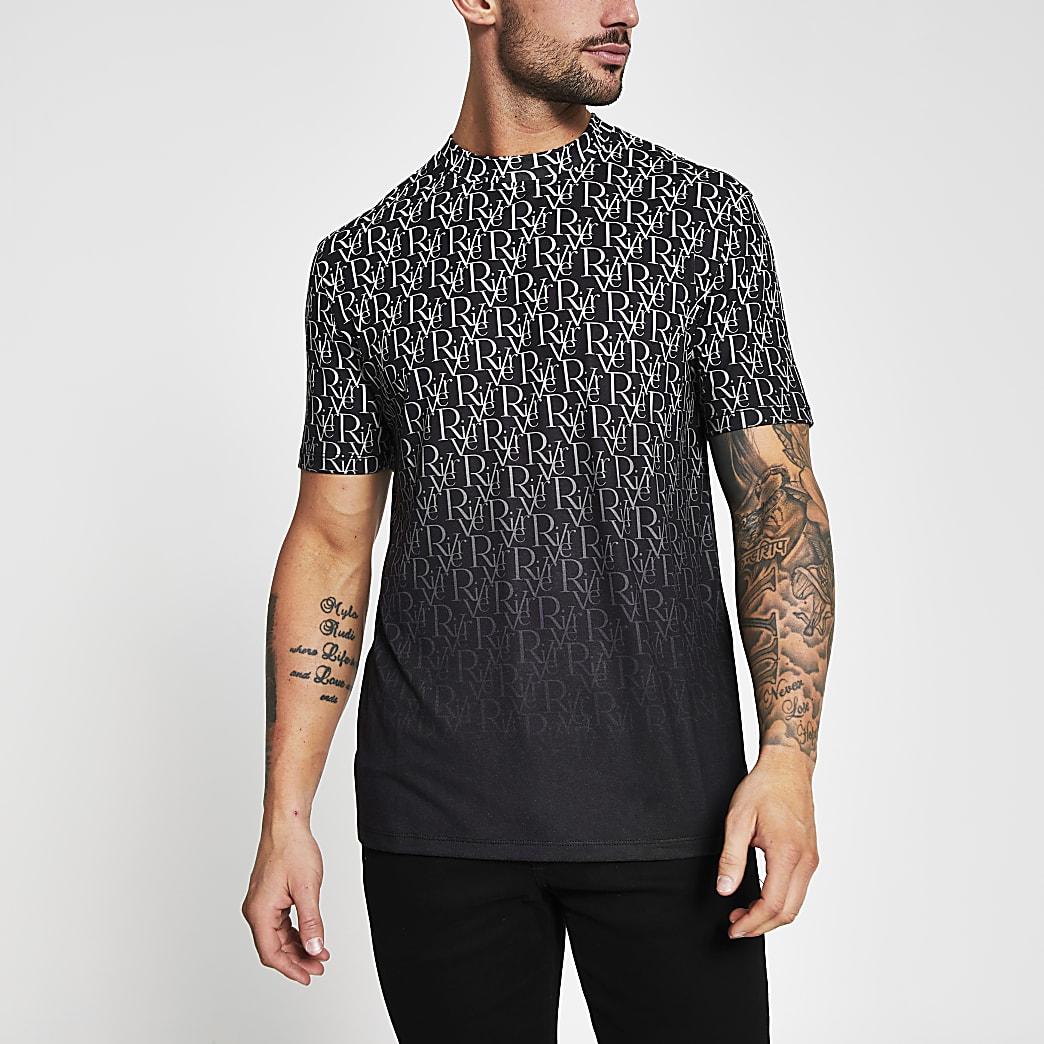 Black fade river print short sleeve t-shirt