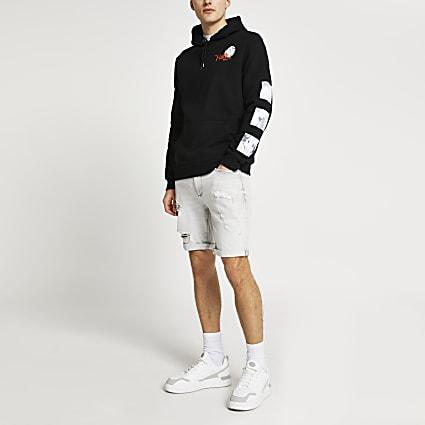 Black faith print hoodie