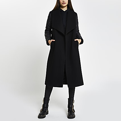 Black Fallaway Hybrid Padded Coat