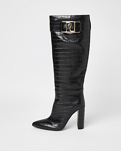 Black faux croc knee high heeled boots