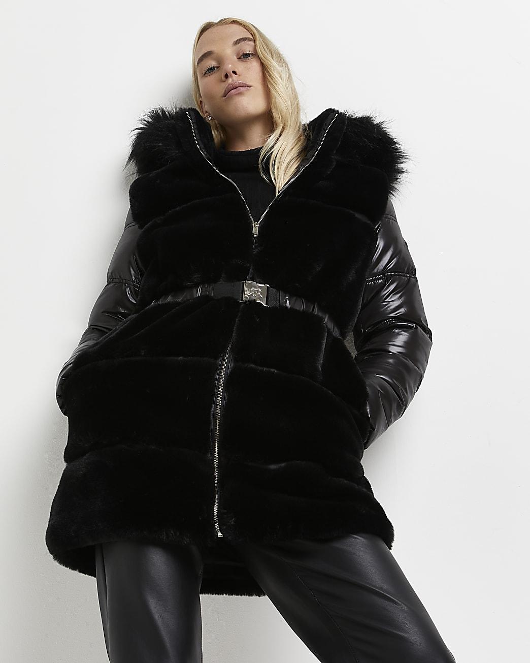 Black faux fur belted coat
