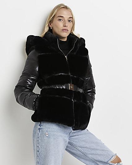 Black faux fur belted puffer coat