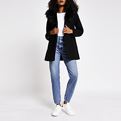 Black faux fur belted robe coat