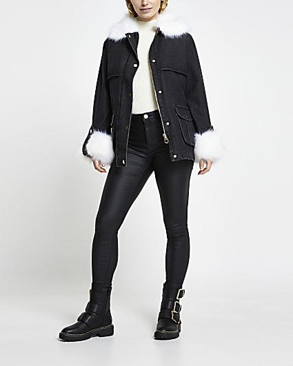 Black faux fur collar and cuff denim jacket