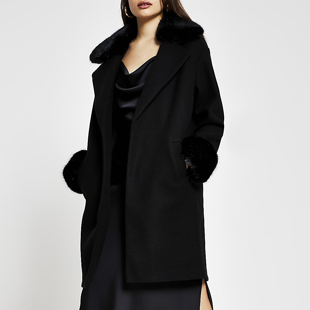 Black faux fur collar coat