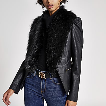 Black faux fur collar long puff sleeve jacket