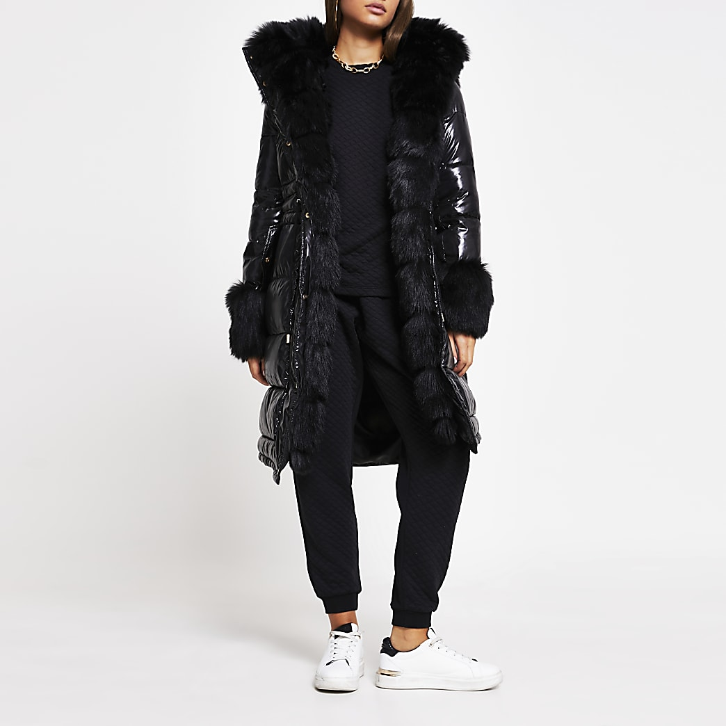 Black faux fur cuff padded parka coat