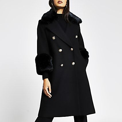 Black faux fur cuff swing coat