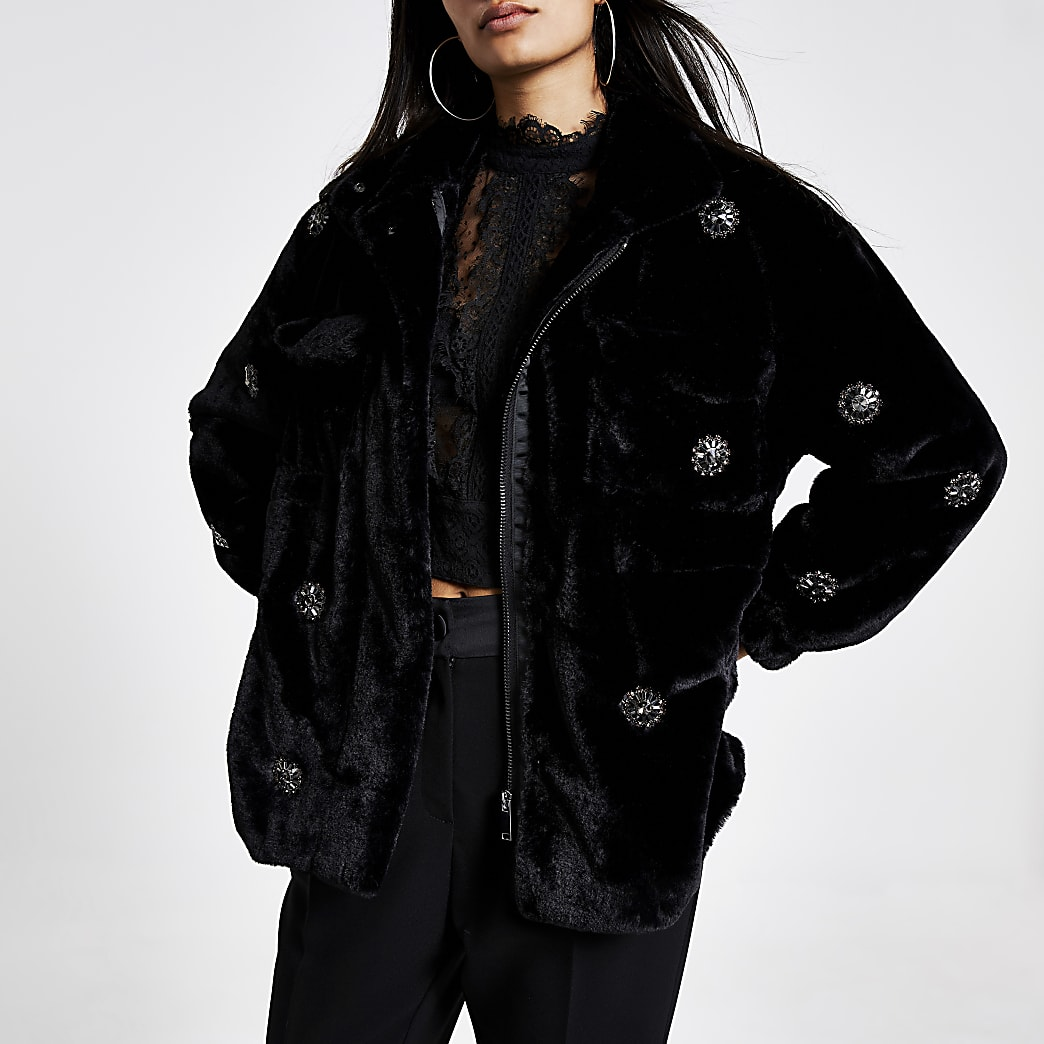 Black faux fur embellished jacket | River Island