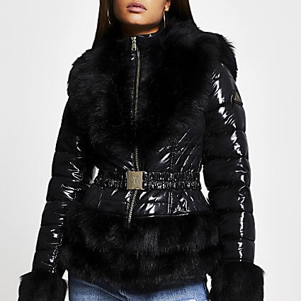 Black faux fur hem fitted padded coat