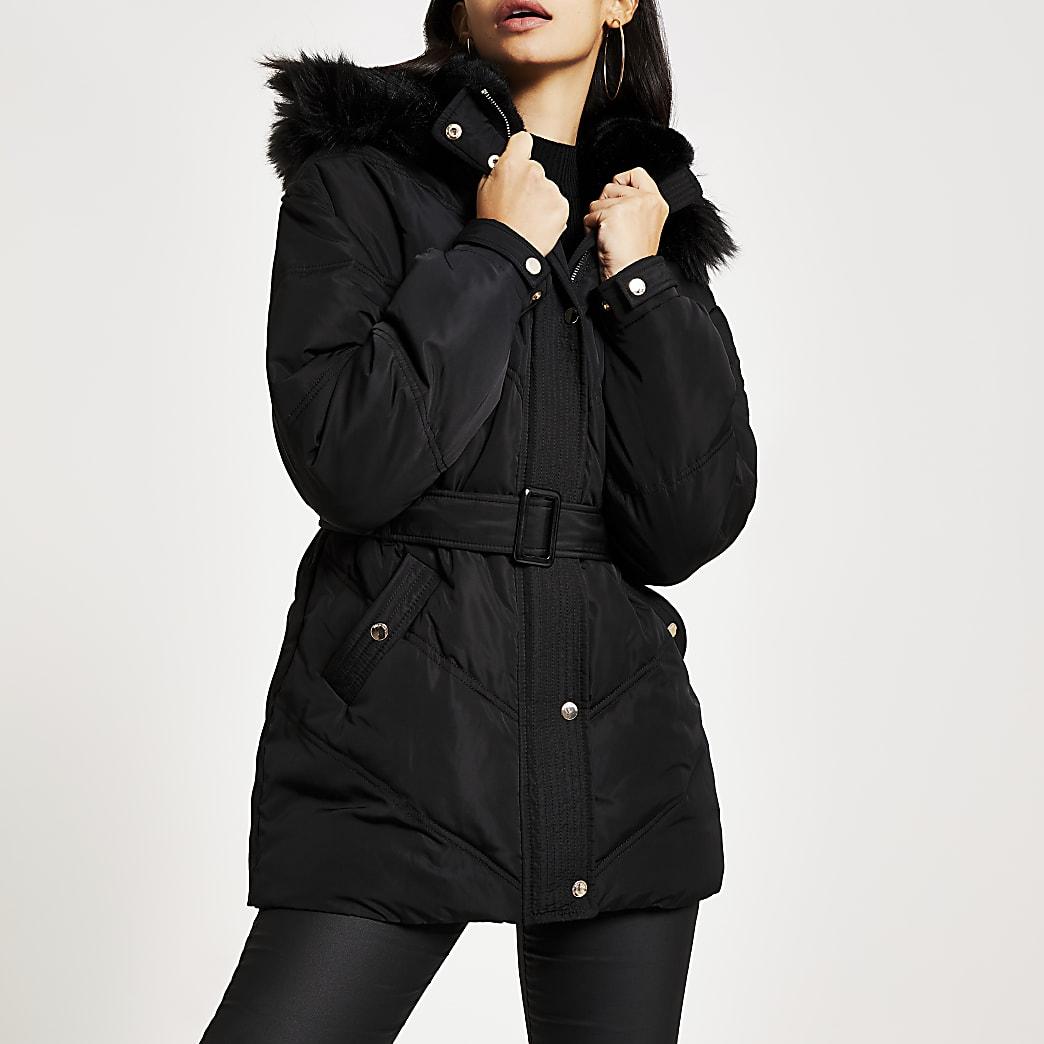Black faux fur hood belted puffer jacket