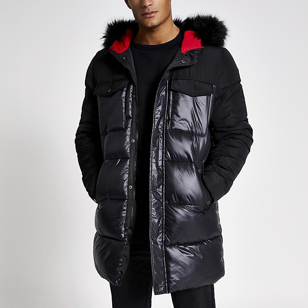 Mens Blue faux fur hood nylon puffer coat by River Island