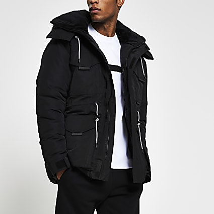 Black faux fur hooded parka jacket
