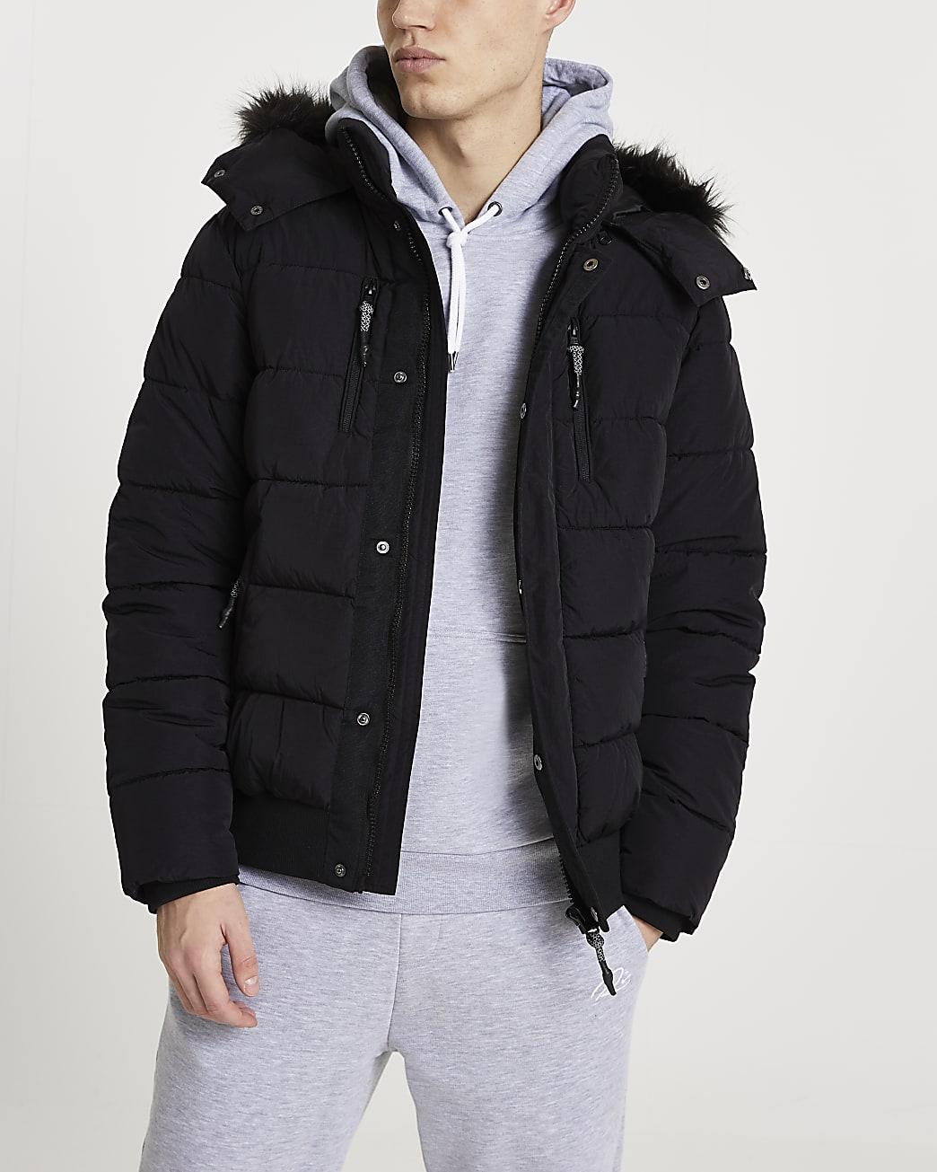 Black faux fur hooded puffer