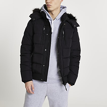 Black faux fur hooded puffer