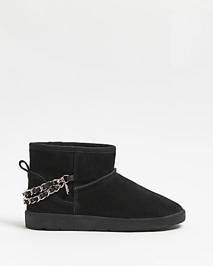 Black faux fur lined boots