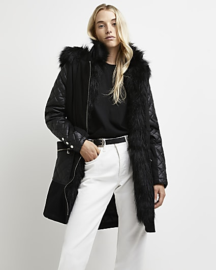 Black faux fur lined parka coat