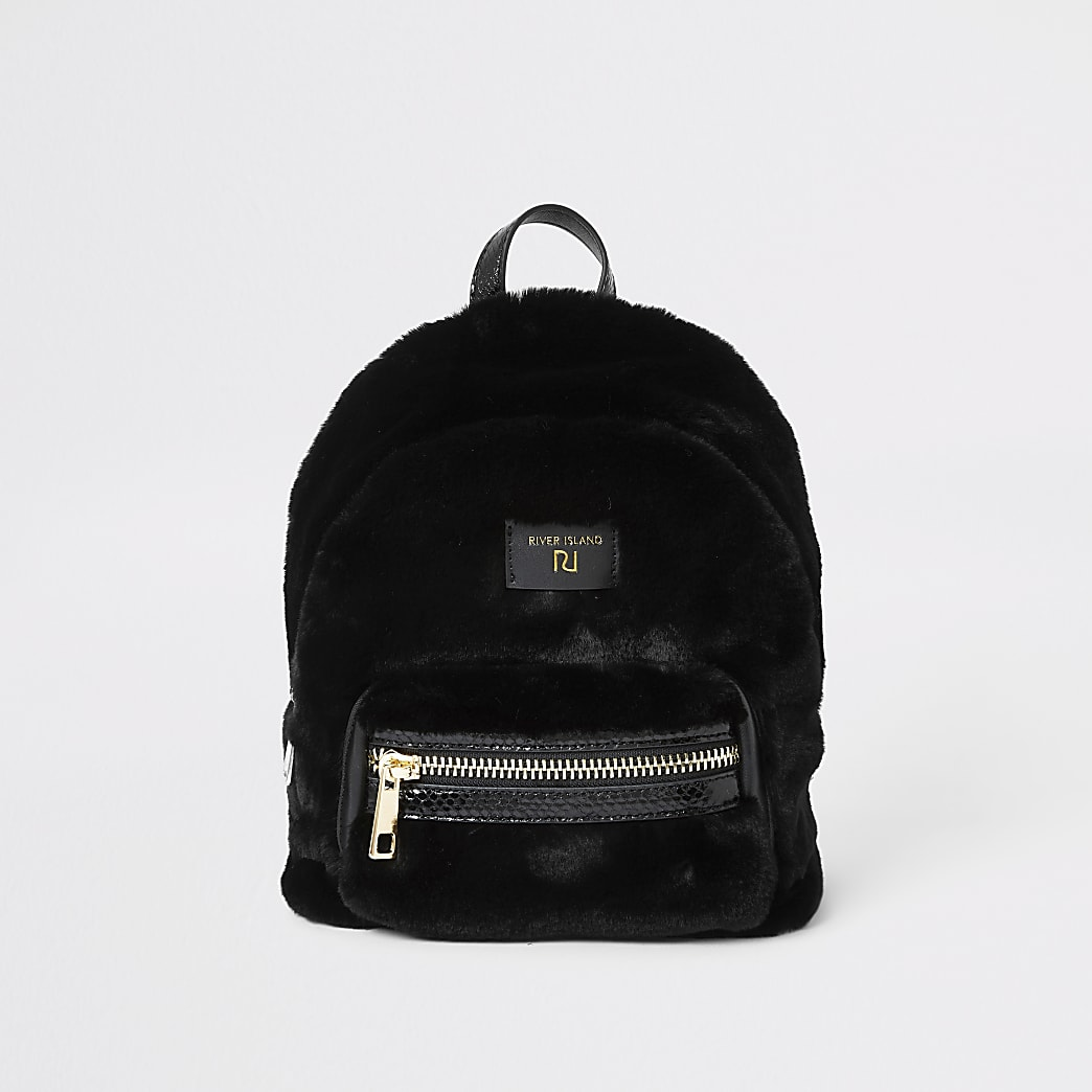 Black faux fur mini backpack