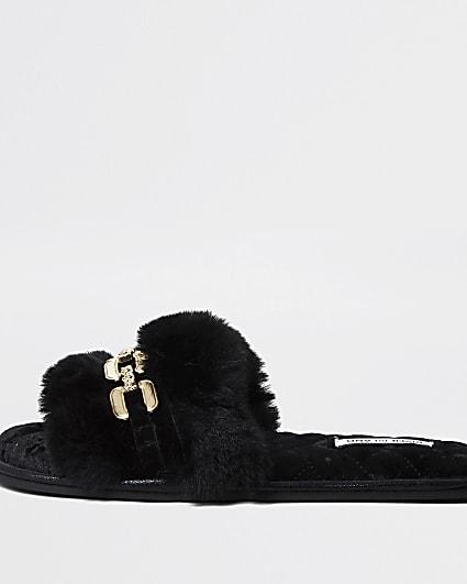 Black faux fur open toe slippers