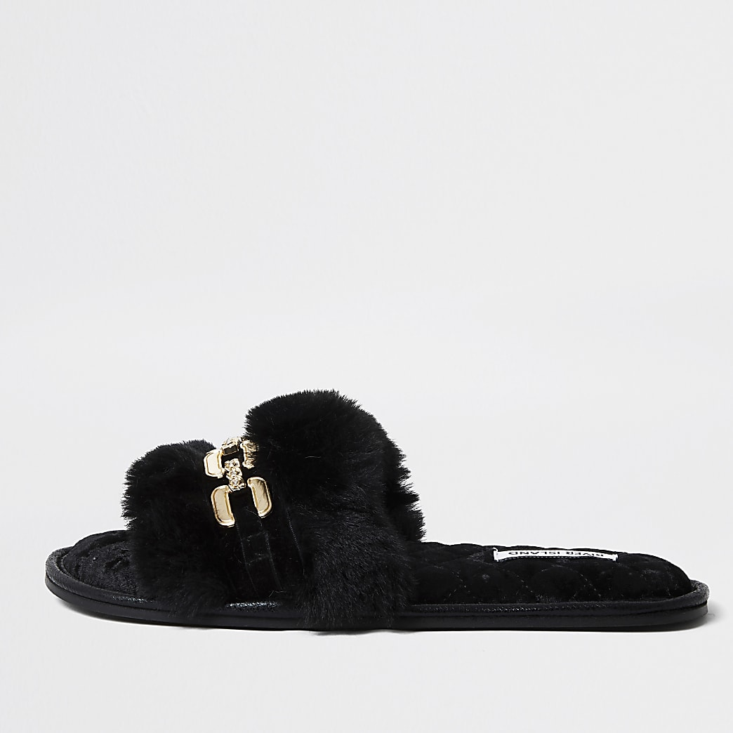 Black faux fur open toe slippers