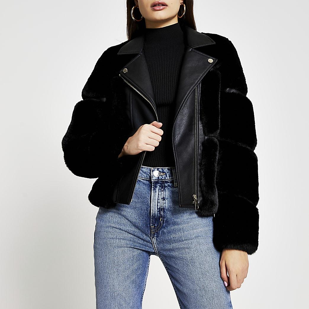 Black faux fur panelled biker jacket