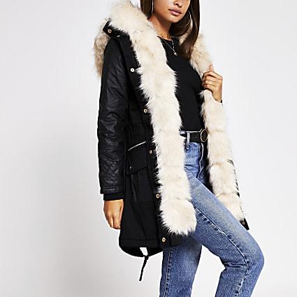 Black faux fur panelled cotton parka