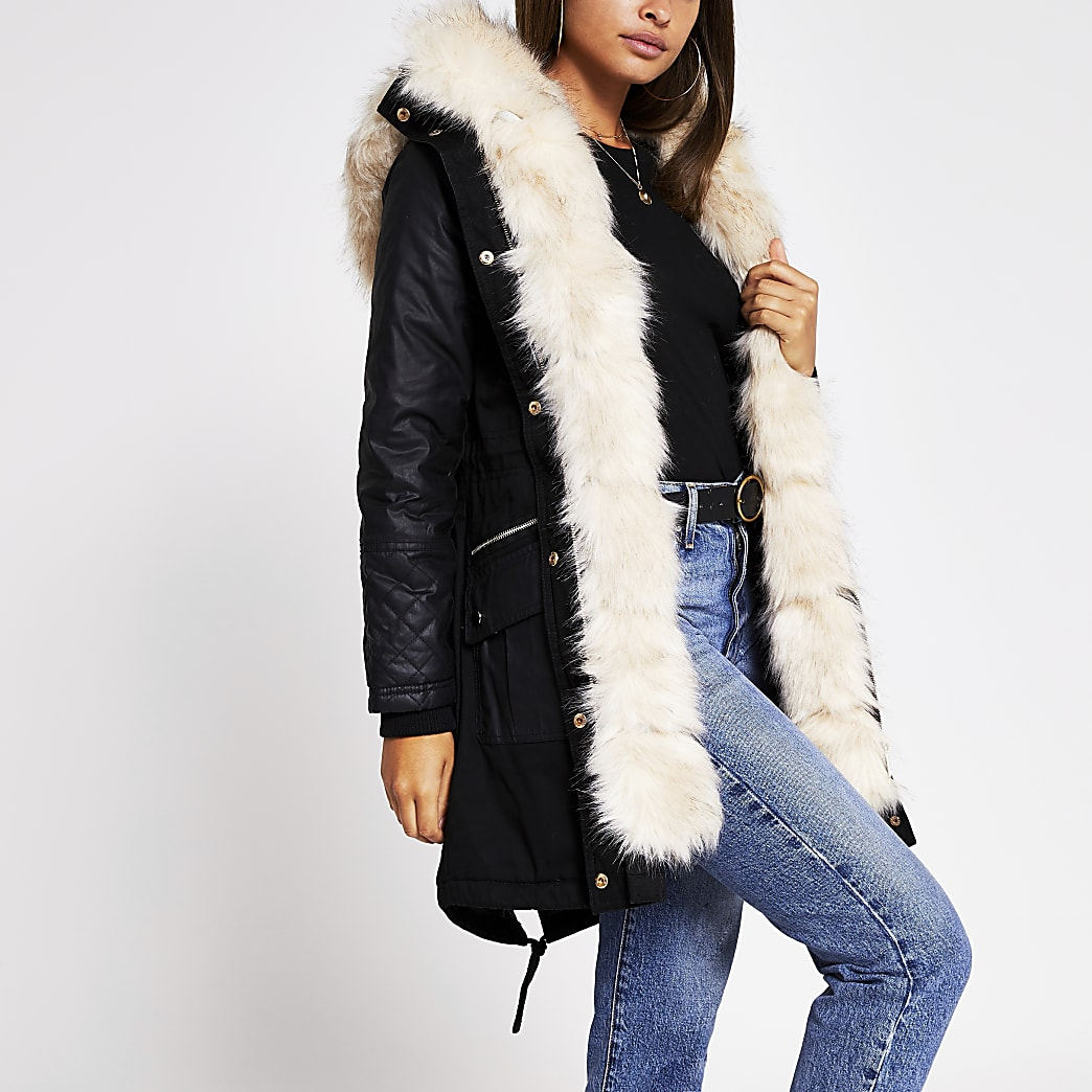 Black faux fur panelled cotton parka