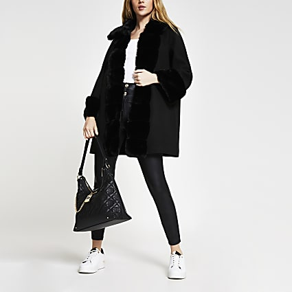 Black faux fur panelled swing coat
