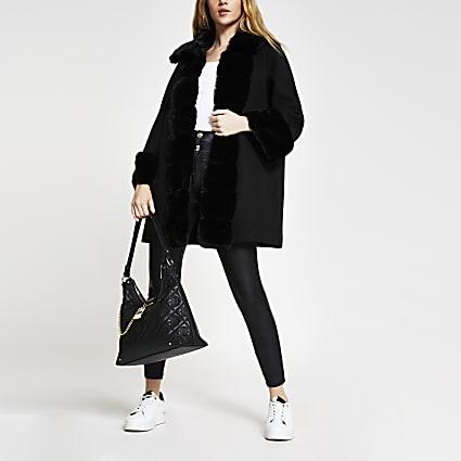 Black faux fur panelled swing coat