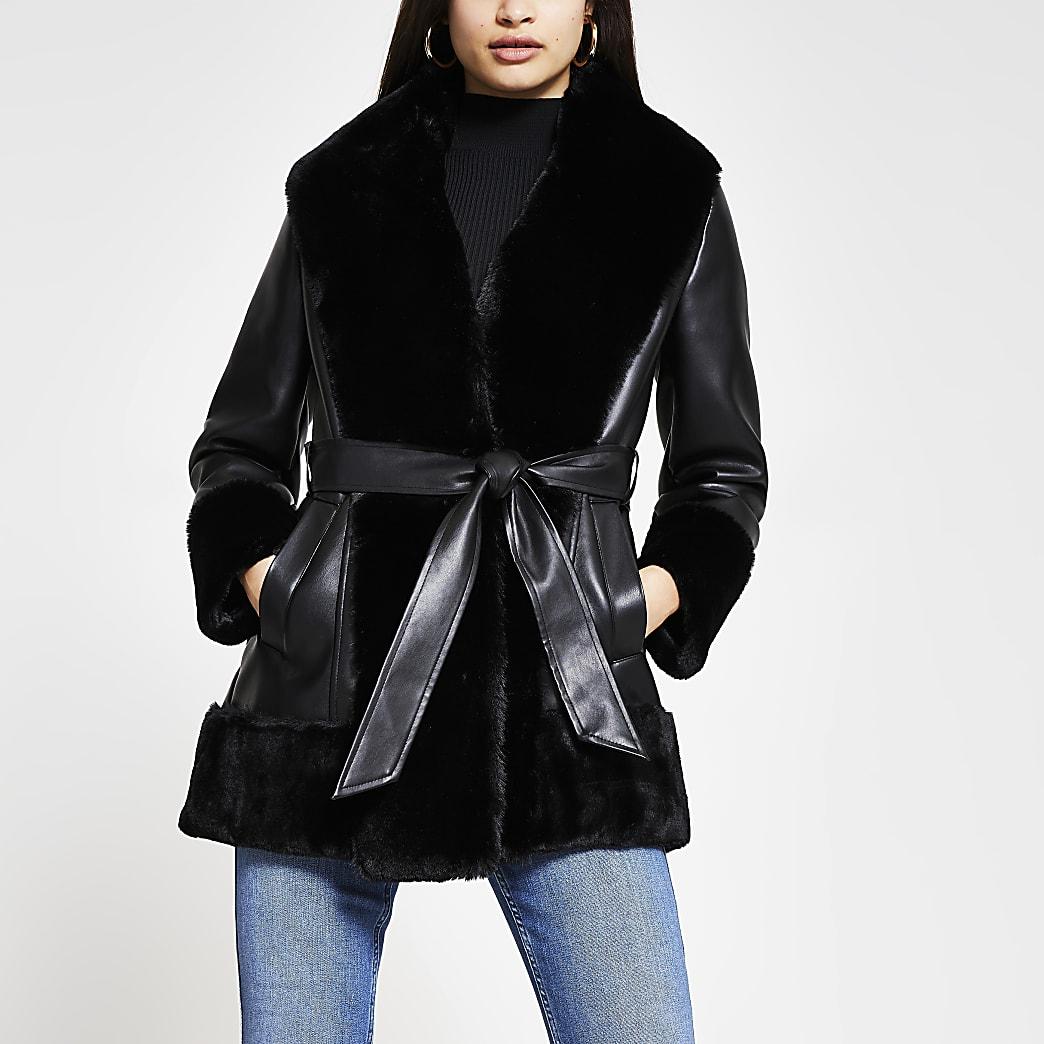 Black faux fur PU belted jacket