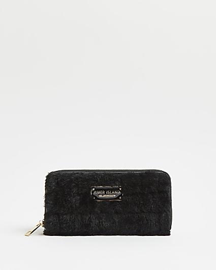 Black faux fur quilted purse
