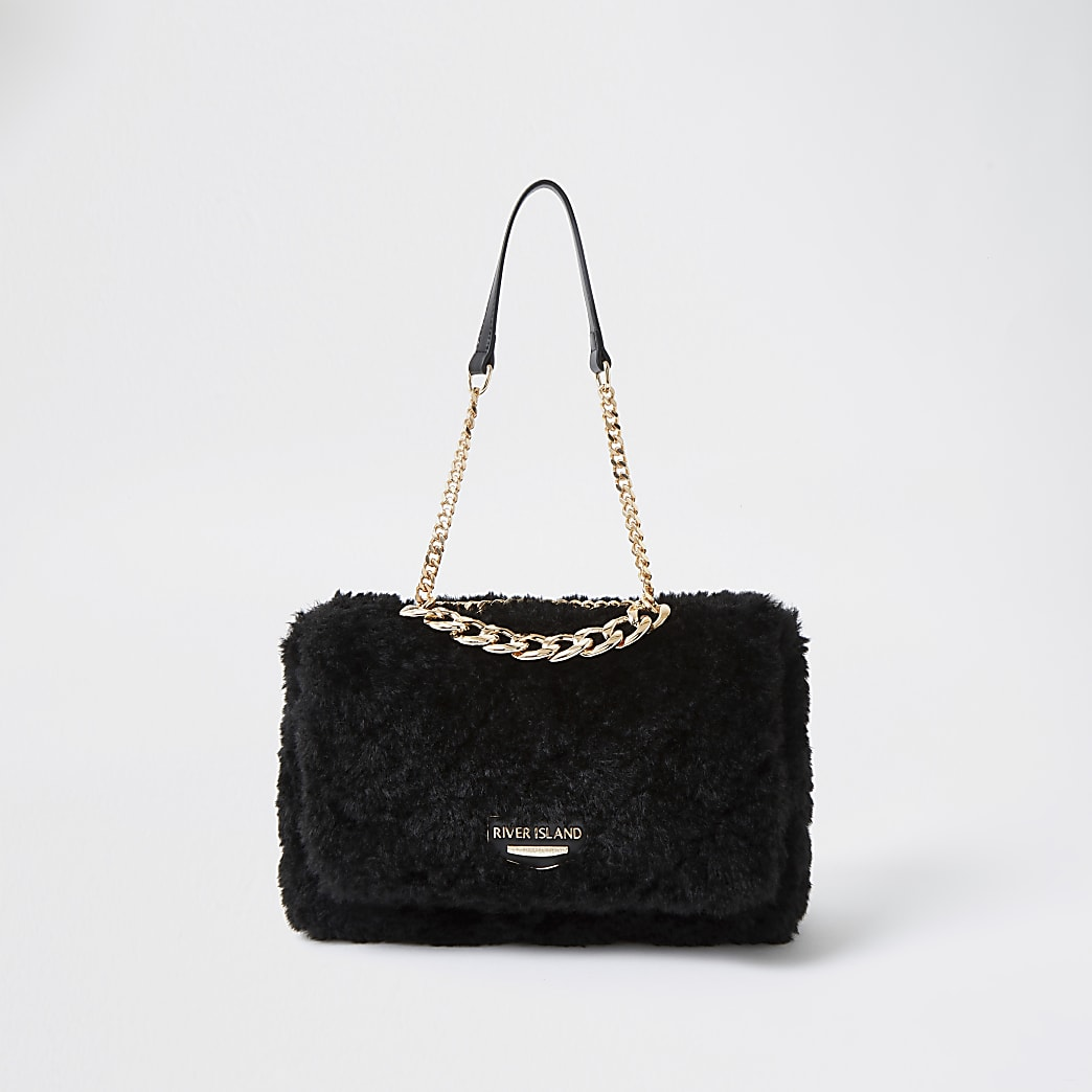 Black faux fur quilted shoulder bag