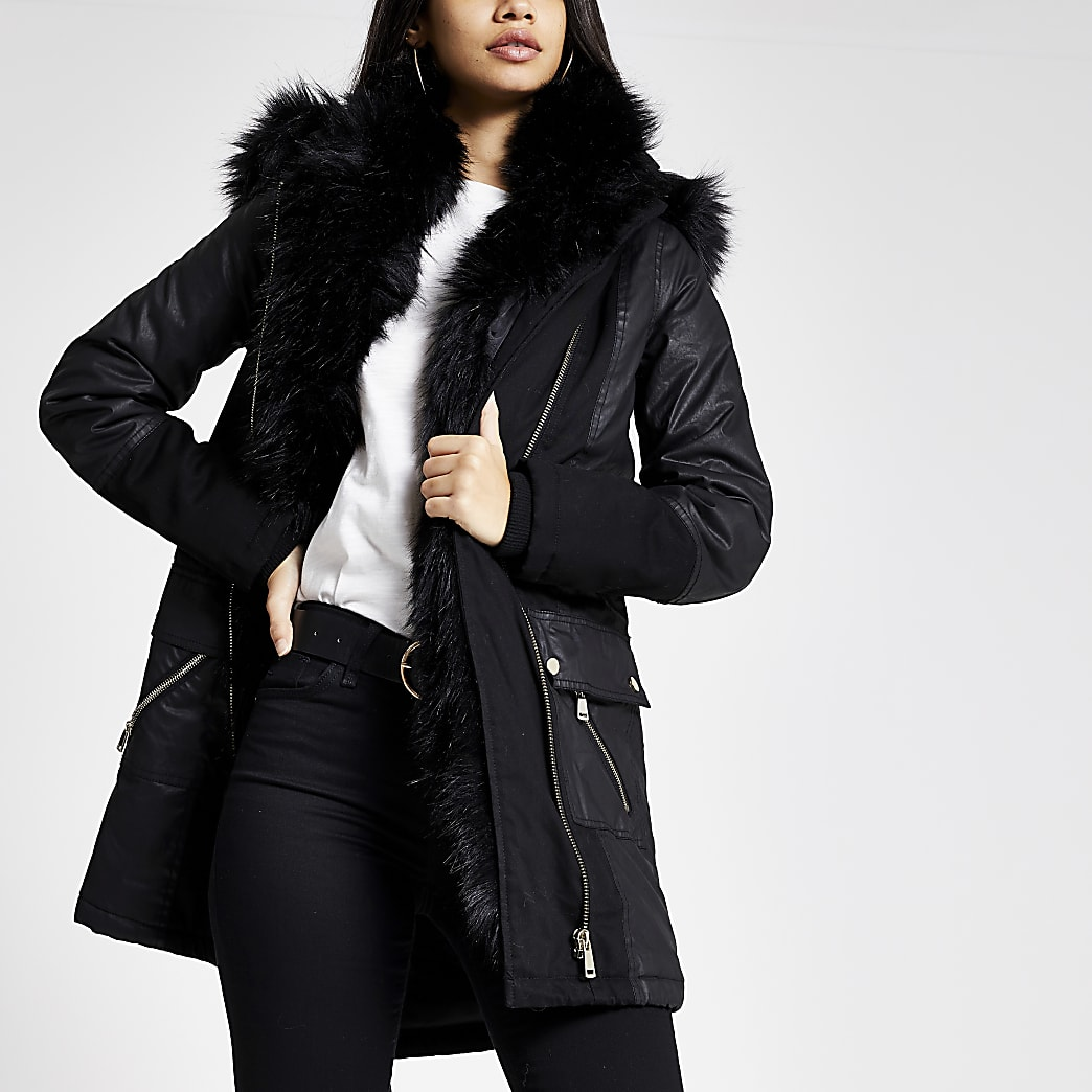 Black faux fur trim oversized parka coat