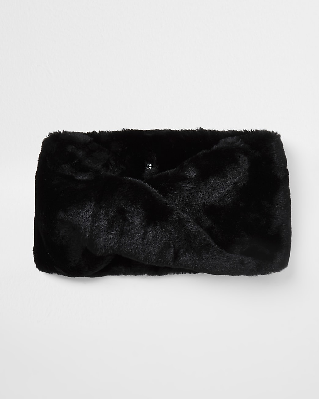 Black faux fur twist snood scarf
