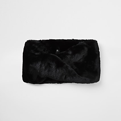 Black faux fur twist snood scarf