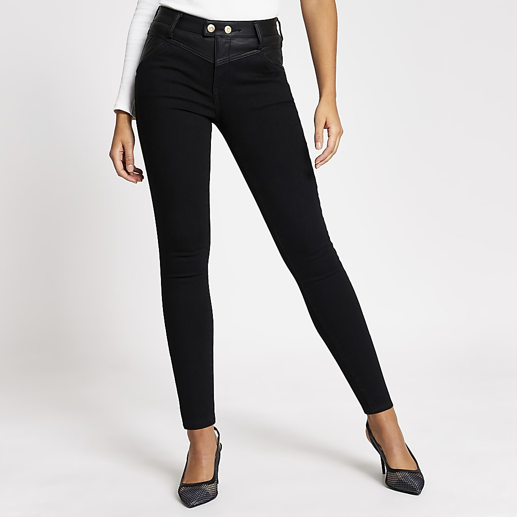 Black faux leather Amelie super skinny jeans